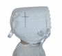 "<img src=""http://site.grammies-attic.com/images/blue-sold-1.gif""> NEW White Linen Keepsake Hanky Bonnet with Cross Embroidery and Scalloped Edge"