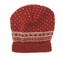 NEW Will'Beth Red Knit Hat with White Design