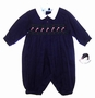 "<img src=""https://p11.secure.hostingprod.com/@grammies-attic.com/ssl/images/blue-sold-1.gif""> NEW Sarah Louise Navy Smocked Romper with Candy Cane Embroidery"