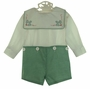 "<img src=""https://p11.secure.hostingprod.com/@grammies-attic.com/ssl/images/blue-sold-1.gif""> NEW Chabre Green Checked Button on Shorts Set with Holiday Embroidered Portrait Collar"