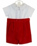 NEW Gordon and Company Red Velvet Mock Button On Style Romper with Short Sleeved White Pintucked Top