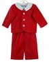 NEW Gordon & Company Red Velvet Eton Suit with Long Pants