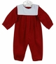 "<img src=""https://p11.secure.hostingprod.com/@grammies-attic.com/ssl/images/blue-sold-1.gif""> NEW Bailey Boys Red Pinwale Corduroy Romper with White Portrait Collar"