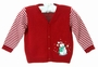 NEW Will'Beth Red Sweater with Striped Sleeves and Snowman Applique