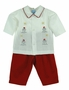 NEW Willbeth Red and White Pants Set with Snowman Embroidery