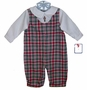 "<img src=""https://p11.secure.hostingprod.com/@grammies-attic.com/ssl/images/blue-sold-1.gif""> NEW Petit Ami Red and Green Plaid Romper with Nutcracker Embroidery"