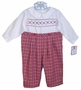 NEW Petit Ami Red and White Plaid Smocked Romper with Holiday Embroidery