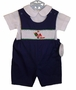 NEW Rosalina Navy Blue Smocked Shortall Set with Santa Embroidery