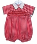 NEW Will'beth Red Checked Smocked Romper with White Collar and Green Piping