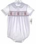 NEW Rosalina White Smocked Baby Bubble with Embroidered Teddy Bears for Boys or Girls