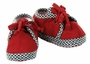 NEW Dark Red Baby Shoes with Black Checked Trim