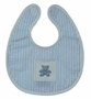 NEW Blue and White Striped Bib and Rattle Set with Cross Stitched Teddy Bear