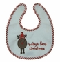 "<img src=""http://site.grammies-attic.com/images/blue-sold-1.gif""> NEW Red and White Baby's First Christmas Bib and Rattle Set with Appliqued Reindeer"