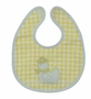 NEW Yellow Checked Bib and Rattle Set with Appliqued Sailor Duck