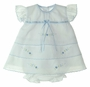"<img src=""http://site.grammies-attic.com/images/blue-sold-1.gif""> NEW Will'Beth White Diaper Set and Matching Bonnet with Blue Embroidery"