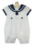 "<img src=""https://p11.secure.hostingprod.com/@grammies-attic.com/ssl/images/blue-sold-1.gif""> NEW Sarah Louise White Sailor Romper and Matching Hat with Navy Trim"