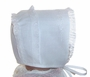 "<img src=""https://p11.secure.hostingprod.com/@grammies-attic.com/ssl/images/blue-sold-1.gif""> NEW Feltman Brothers White Batiste Christening Bonnet with Embroidery and Lace"