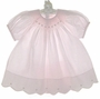 NEW Feltman Brothers Pink Smocked Bishop Dress with Embroidered Rosebuds and Matching Diaper Cover