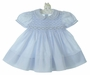 Feltman Brothers Pale Blue Smocked Dress with Fagoted Collar and Cuffs