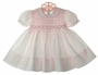 "<img src=""https://p11.secure.hostingprod.com/@grammies-attic.com/ssl/images/blue-sold-1.gif""> NEW Feltman Brothers Pale Pink Smocked Dress with Fagoted Collar and Cuffs"