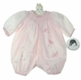 "<img src=""http://site.grammies-attic.com/images/blue-sold-1.gif""> NEW Sarah Louise Pink Smocked Bubble with Embroidered Fireflies"