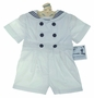 NEW Gordon & Company White Sailor Button On Shorts Set with Navy Trim