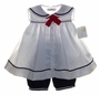 "<img src=""https://p11.secure.hostingprod.com/@grammies-attic.com/ssl/images/blue-sold-1.gif""> NEW Petit Ami White Sailor Dress with Matching Navy Bloomers and Beret"