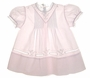 "<img src=""http://site.grammies-attic.com/images/blue-sold-1.gif"">  NEW Feltman Brothers Pale Pink Baby Dress with Pintucks, Embroidery, and Lace Insertion"