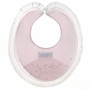 NEW Feltman Brothers Pink Bib with Lace Trim and Embroidered Doves