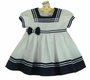 NEW Sarah Louise White and Navy Pleated Sailor Dress with Navy Bow Trim