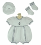 "<img src=""https://p11.secure.hostingprod.com/@grammies-attic.com/ssl/images/blue-sold-1.gif""> NEW Will'Beth White Cotton Knit Sailor Romper with Matching Socks and Beret"