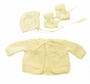 "<img src=""https://p11.secure.hostingprod.com/@grammies-attic.com/ssl/images/blue-sold-1.gif""> NEW Pale Yellow Hand Knit Baby Sweater, Hat, and Booties Set"