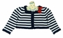NEW Sarah Louise Navy Striped Bolero Sweater with Red Bow