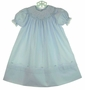 NEW Feltman Brothers Blue Bishop Smocked Dress with Delicate Rosebud Embroidery