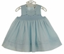 NEW Sarah Louise Pale Blue Sleeveless Smocked Dress with Embroidered Blue and White Flowers