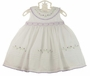 "<img src=""https://p11.secure.hostingprod.com/@grammies-attic.com/ssl/images/blue-sold-1.gif""> NEW Sarah Louise White Sleeveless Smocked Dress with Pintucks and Lavender Rosebuds"