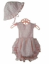 NEW Sarah Louise Pink Checked Ruffled Sunsuit with Matching Sunhat