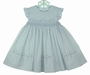 NEW Sarah Louise Smocked Dress with Blue Hearts, Embroidered Flowers, and Pinafore Sleeves