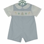 NEW Petit Ami Blue and White Smocked Shortall with Birthday Embroidery
