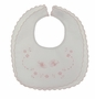 NEW Will'Beth White Scalloped Bib with Pink or Blue Embroidery
