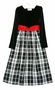 NEW Rare Editions Black Velvet Dress with Plaid Taffeta Skirt