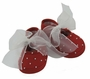 NEW Will'Beth Red Shoes with Pearls and White Organza Ribbons