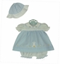 NEW Will'Beth Blue and White Dress with Bunny Applique and Matching Hat