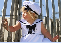NEW Rare Editions White Sleeveless Sailor Dress with White Collar (SS1003)