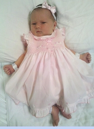 NEW Sarah Louise Pink Ruffled Dress with Tiny Flowers and Matching Ruffled Diaper Cover (CC1118)