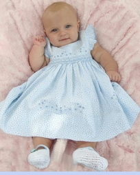 NEW Sarah Louise Blue Flowered Smocked Dress with Embroidered Flowers and Pinafore Sleeves (CC09106) and  NEW White Hand Crocheted Mary Jane Style Baby Booties with Blue Trim (BB05183)