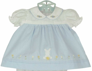New will beth blue and white dress with bunny applique and