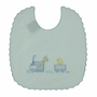 "<img src=""https://p11.secure.hostingprod.com/@grammies-attic.com/ssl/images/blue-sold-1.gif""> NEW Will'Beth Blue Linen Bib with Train and Duck Embroidery"