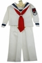 """<img src=""""http://site.grammies-attic.com/images/blue-sold-1.gif"""">  Vintage White Long Sleeved Sailor Suit with Navy Braid Trim"""
