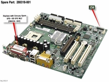 280318-001 Compaq Motherboard System Board For Evo D300V - For Chas